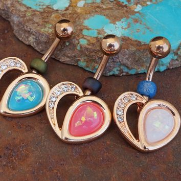 Rose Gold Opal Heart Belly Button Navel Ring