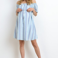 Blue Striped Off Shoulder Maternity Dress