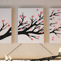 3-Canvas Cherry Blossom Panting - small
