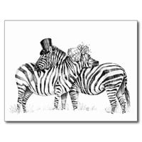 Wedding zebras postcard