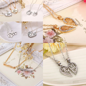 Popular Simple Letters Best Friends Alloy Pendant Necklaces Friendship Memorial Day Birthday Gift For Friend Gold Silver