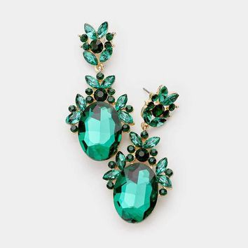 Crystal Oval Accented Cluster Evening Earrings