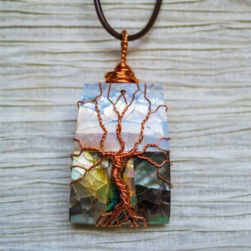 Tree of Life copper wire wrapped Abalone pendant