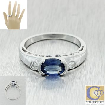 Vintage Estate 14k White Gold .95ctw Bezel Set Sapphire Diamond Band Ring