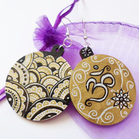 Golden OM Zentangle Jewelry Earrings, Spiritual Yoga Zen Earrings Jewelry, Unique Boho Tribal yoga gift OOAK Wooden Painted earrings jewelry