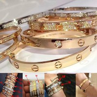 Cartier Fashion Couple New More Style Simple Rose Gold Personality Bracelet Screw Bracelet Lovers Bracelet