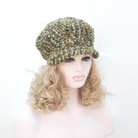 Hand Crocheted Chunky  Newsboy Baker Boy Hat Womens Winter Peaked Hat