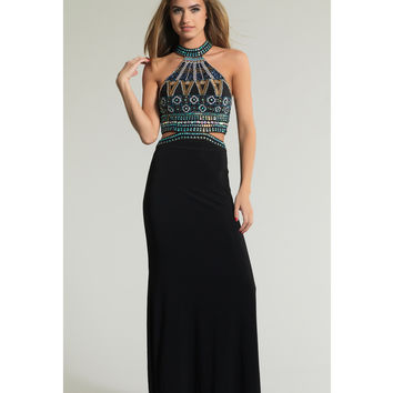 Dave & Johnny 1165 Black Halter Cutout Full Length Dress 2015 Prom Dresses