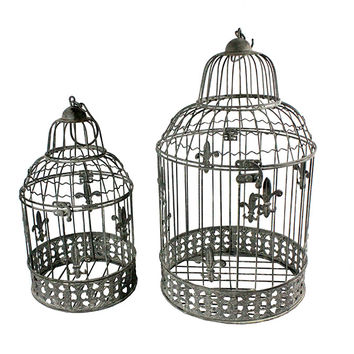 Stylish, Cool Set Of 2 Bird Cage Metal Candle Holder