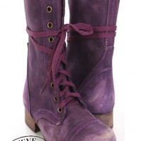 Purple Leather Distressed Steve Madden Combat Boots