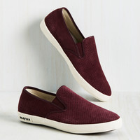 Long Beach Bash Slip-on Sneaker in Burgundy | Mod Retro Vintage Flats | ModCloth.com