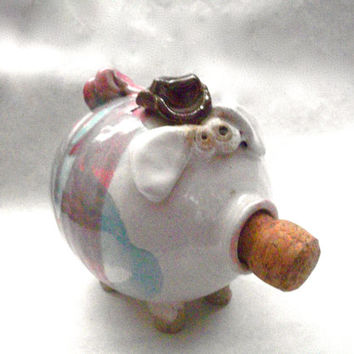 Vintage Piggy Bank  With Cowboy Hat  - From The 1980s -  Mr Pigs Originals