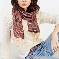Woven Pattern Short Scarf- Maroon One