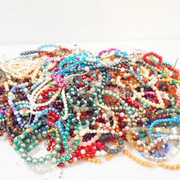 100 Wholesale / Bulk Beaded Necklaces or Bracelets for Party Favors, Crafts, Stocking Stuffer, Children or Adult , Bridesmaids Gift