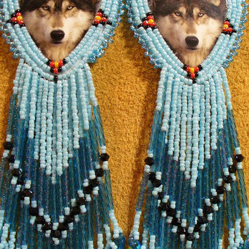 Rosette beaded Soft Blue Wolf earrings