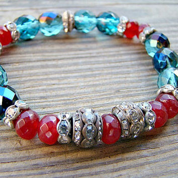 Beaded Stretch Bracelet, Stacking Bracelet, Blue, Glass Bead Bracelet, Charm Bracelet, Boho Chic, Womens Jewelry, Elastic Bracelet, Boho