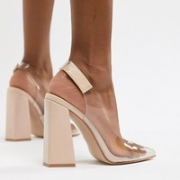 Public Desire Lure nude clear detail block heeled shoes at asos.com