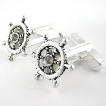 Silver Nautical Cufflinks - Ship Helm Cuff Links Mens Cufflinks Navy Marines