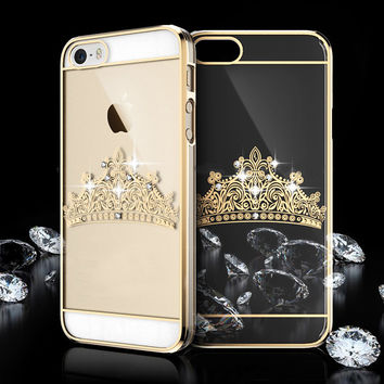 Clear Transparent Diamond Crown iPhone Case