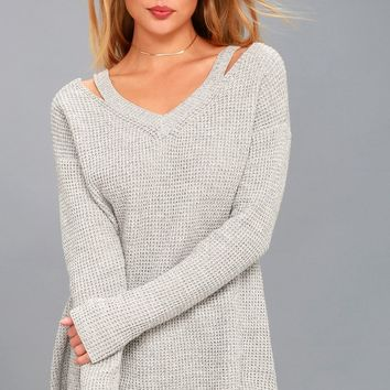 Little of Your Love Grey Cutout Knit Sweater