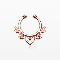 Rose Gold Imperial Filigree Fake Septum Clip-On Ring