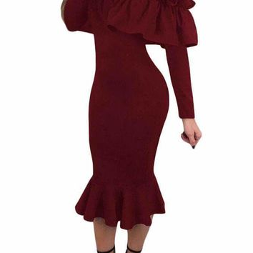 Burgundy Long Sleeve Ruffle Off Shoulder Dress