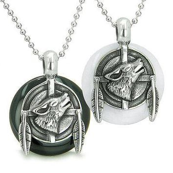 Amulets Best Friends or Love Couple Howling Wolf Feathers Medallions Ying Yang W