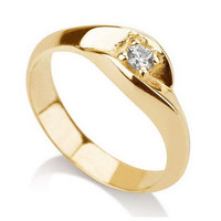 Promise Ring Solitaire Engagement Ring CZ Cubic Zircon 18k Gold over Silver