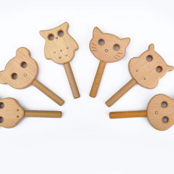 Cute Animal Rattles 1pc - Animal Shaped Wooden Rattle- Baby Rattle toy