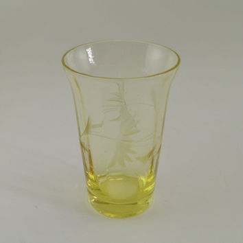 Depression glass yellow etched juice glass tumbler by CleverRuthie