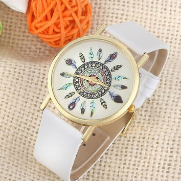 Womens Vintage Feather Dial Leather Band Quartz Analog Unique Wrist creative watches
