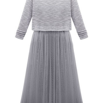 Grey Long Sleeve Pleated Midi Dress