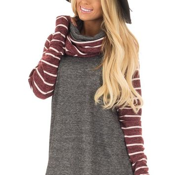 Charcoal Cowl Neck Sweater with Burgundy Stripe Contrast