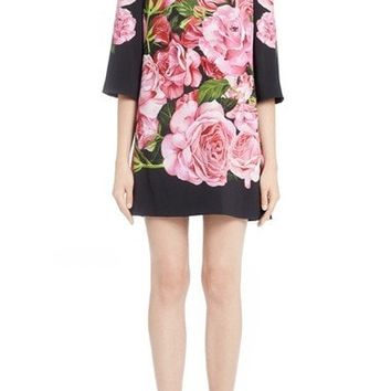 Rose Print Cady Shift Dress
