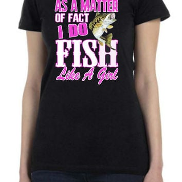 LADIES Printed T Shirt Southern COUNTRY Fish Like A GIRL Bass Screen Print Tee