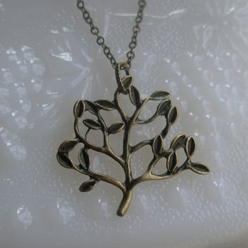 Tree necklace- Antique bronze tree necklace- Beautiful tree pendant- Family tree- Nature- Fashion- Spring accessory