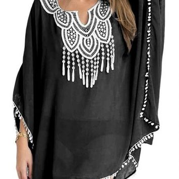 Black Chiffon Embroidery Beach Tunic