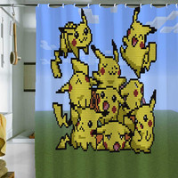 "Pokemon shower curtain by holidayshowercurtain size 36"" x 72"", 48"" x 72"", 60"" x 72"" , 66"" x 72"""