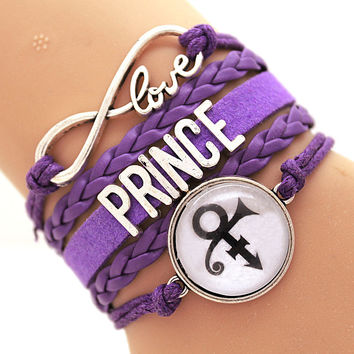 NEW ARRIVED Infinity Bracelet Love Prince Music Charm Bracelet Purple Rain Bracelet Artist Bracelet Round Glasses Hi-Q Custom