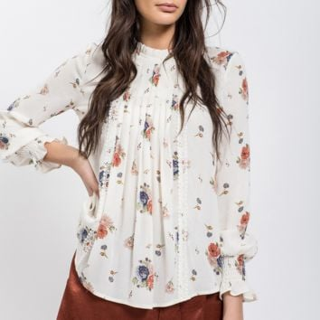 blu pepper - floral printed blouse - ivory multi