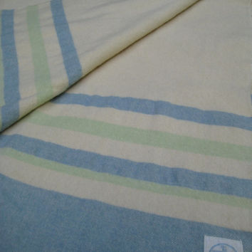 Vintage Wool Blanket Cream with Blue and Green Stripes Made in Canada Horn Bros 66 x 78 Inches