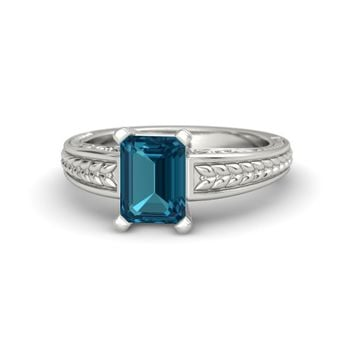 Emerald-Cut London Blue Topaz Palladium Ring