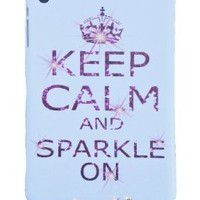 Jersey Bling® KEEP CALM SPARKLE ON White & Pink Ipad Mini Silicone Case, Cover