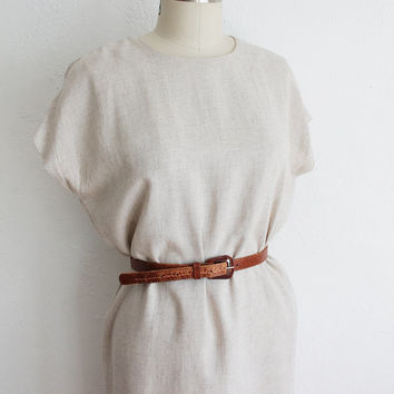 Vintage 90s Natural Linen Sack Dress | Cotton Summer Dress