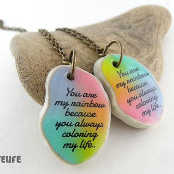 Best Friend Necklace Rainbow Friendship Necklaces For 2 Long Distance Gift Graduation Birthday Gifts