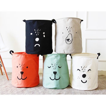 cartoon folding laundry basket