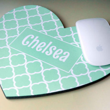 Geometric Print Personalized Monogram Computer Mousepad for Office Desk + Mint Heart
