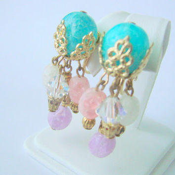 Vintage Ornate Chandelier Earrings / Lucite Beads / Crystal / Pastel / Multi Color / Clips / Jewelry / Jewellery
