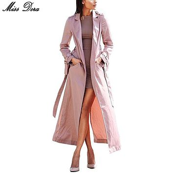 2017 new fashion Pink Long Sleeve Notched Sashes Bow Chic  Modern Women Long Duster Coat & jacket lady windbreaker party wear