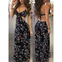 LMFON Fashion Floral Print Halter Hollow Backless Deep V-Neck Sleeveless Maxi Dress